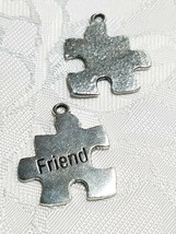 FRIEND PUZZLE PIECE FINE PEWTER PENDANT CHARM ANTIQUE SILVER FINISH