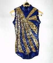 Vintage 80s Blue Gold Sequin Beaded Bodysuit Leotard Unitard Dance One P... - $94.04