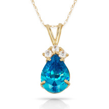 3.70 CT Blue Topaz Pear Shape 4 Stone Gemstone Pendant & Necklace 14K Y ... - $153.45