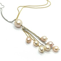 18k YELLOW WHITE GOLD DOUBLE CHAIN NECKLACE, WATERFALL MULTI WIRES PEARL PENDANT image 2