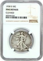 1938-D 50c NGC Fine Details (Cleaned) - Walking Liberty Half Dollar - $77.60