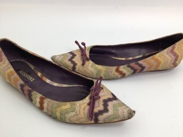 Missoni Purple Zig Zag Print pointy Toe Bow Flats Size 38.5 - $42.06