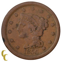 1856 Tressé Cheveux Large Cent 1C Penny Vertical (5 Fine, F Condition) image 3
