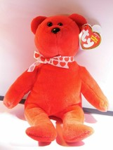 Amora TY Beanie  Beautiful Red Bear W/Red Hearts on White Neck Ribbon. D... - $9.49