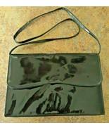 Vintage BLACK Envelope Clutch Bag Evening Party Patent Purse Handbag - $20.48
