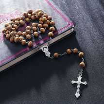Hip Hop Brown Wood Wooden Bead Rosary Mary Jesus Cross Crucifix Prayer N... - $8.59