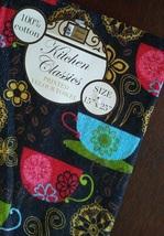 Kitchen Linen Set, 3-pc Potholder Mitt Towel, Coffee Decor, Cups Red Black image 4