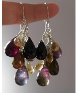 Natural TOURMALINE and CITRINE Sterling Silver Earrings - $80.00