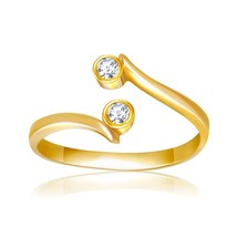14k Yellow Gold Cubic Zirconia Accented Curve Ended Toe Ring - $97.58