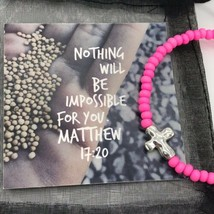 Hot Pink Metal Cross Beaded Stretch Bracelet Gift Handmade in the USA NE... - $12.99