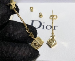 AUTH Christian Dior 2019 LUCKY SQUARE STAR EARRINGS DANGLE DROP CRYSTAL GOLD image 10
