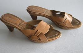 "NINE WEST Beige Leather Slip-on Strappy Sandals 2"" Heels sz 6.5 slides c... - $12.99"