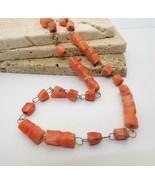 Vintage Peach Pink Agate Gemstone Bead Chain Choker Necklace R33 - $16.82