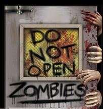New-Do Not Open-ZOMBIE ATTACK LABORATORY DOOR COVER MURAL Horror Prop De... - $7.89