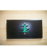 Christmas Tree Design Black Leather Checkbook Cover Free Shipping Holidays - $18.00