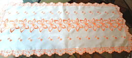 Vintage Sheer Tangerine Embroidered Butterfly Table Runner #1180 - $14.99
