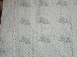 Trapunto Roses Quilt Orig Designed & Hd Made by Mary Riegsecker Mennonit... - $643.50