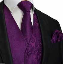 Deep Dark Purple Paisley Tuxedo Suit Dress Vest Waistcoat & Neck tie Han... - $22.75+