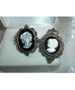 Vintage 925 Sterling Silver Shell Cameo Onyx Marcasite Ring & Pendant Br... - $99.95