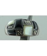 Sterling Silver-Mop-Black Onxy-Marc-Size-8.5 Ring - $45.00