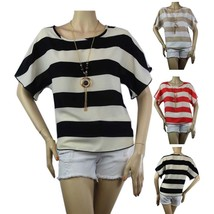 Boat-Neck CHIFFON Striped Short Sleeve BLOUSE w/ Necklace Loose fit Casu... - $19.99