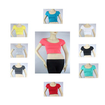 10 Colors Sexy Scoop Neck Short Sleeve CROP TOP Cotton Basic Cute T- Shi... - $5.99