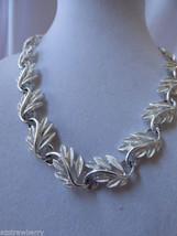 """Vtg Napier Silver Tone Leaf Link Necklace 17""""L - $64.35"""