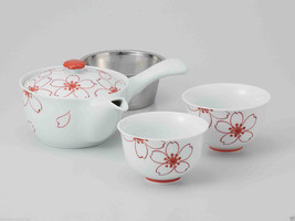 [Value] Hasami Porcelain : Kyusu tea pot & 2 Yunomi tea cups Set (SAKURA... - $102.85