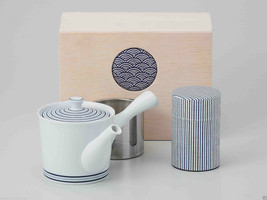 [Value] Hasami Porcelain : Kyusu tea pot & Tea caddy storage Set (SPIRAL... - $102.85