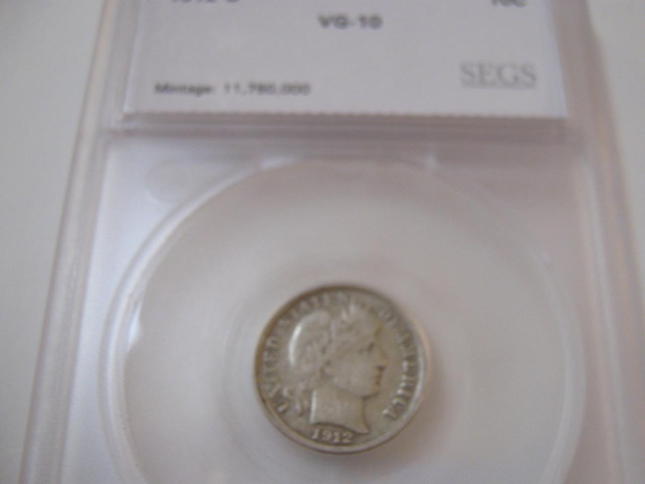 1912-D , Barber Dime , Circulated , SEGS , VG-10 - $15.00