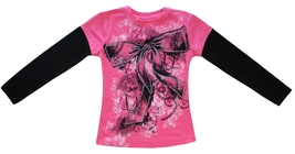 Pop Girl Size S (4) Girls Pink and Black Graphic Beaded Bow Top - $5.99