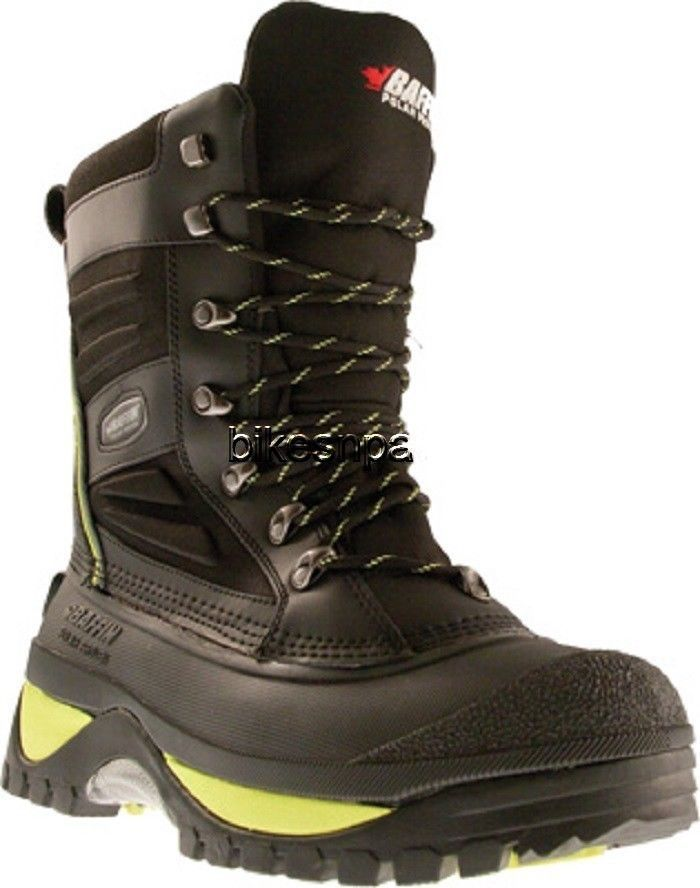 New Mens Size 12 Baffin Crossfire Snowmobile Winter Snow Boots Black/Green -40 F