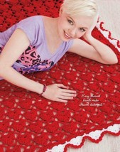 W953 Crochet PATTERN ONLY Heart Motif Holiday Afghan Pattern - $7.50