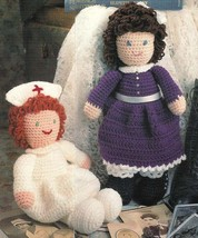 X773 Crochet PATTERN ONLY Nurse & Young Girl Doll and Clothes Toy Pattern - $8.50