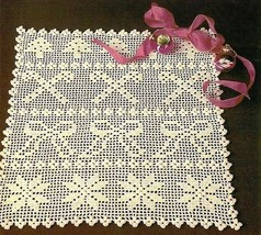 W547 Filet Crochet PATTERN ONLY Holiday Table Scarf Tree Candy Cane Bow Pattern - $8.50