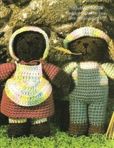 Y036 Crochet PATTERN ONLY Jeremiah & Sarah Brown Bear Toy Doll Pattern - $7.50