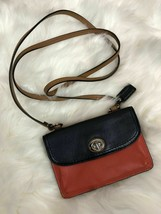 AUTHENTIC COACH ORANGE DARK BLUE LEATHER CROSS BODY WALLET BAG - $38.61