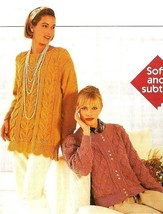 W612 Knit PATTERN ONLY Garden Inspired Smock Tunic & Laticework Cardigan... - $8.45