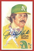 "JIM  "" CATFISH ""  HUNTER   AUTOGRAPHED   PEREZ  STEELE  LIMITED  POSTCAR... - $39.99"