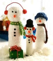 Y721 Crochet PATTERN ONLY Snowman Bottle Cover Trio Christmas Décor - $7.50