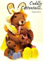 Y745 Crochet PATTERN ONLY Cuddly Cottontails Momma & Baby Rabbit Doll Patter - $10.50