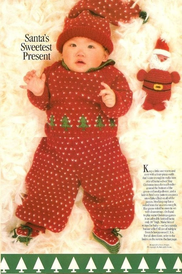 X651 Knit PATTERN ONLY Christmas Baby Sweater Pants ...