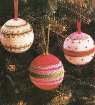 X994 Crochet PATTERN ONLY 3 Christmas Ornament Ball Cover Patterns - $9.50