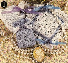 X191 Crochet PATTERN ONLY 3 Crochet Mother's Day Sachets 2 bags 1 square P - $11.50