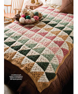 Y035 Crochet PATTERN ONLY Half-Square Granny Afghan Throw Pattern - $10.45