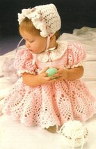 Y229 Crochet PATTERN ONLY Sweet Baby Easter Dress Bonnet & Purse Outfit ... - $9.50