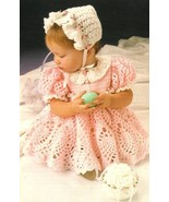 Y229 Crochet PATTERN ONLY Sweet Baby Easter Dress Bonnet & Purse Outfit Patt - $9.50
