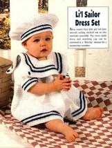 Y580 Crochet PATTERN ONLY Crochet Little Sailor Dress & Hat Set Patterns - $9.50