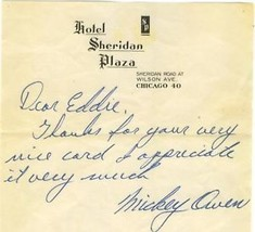 MICKEY  OWEN  AUTOGRAPHED  LETTER     EX++   !! - $24.99