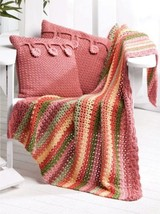 W561 Crochet PATTERN ONLY Colorful Stripe Throw & Cottage Button Pillows... - $7.50